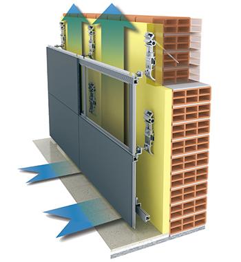 подсистема вентилируемого фасада с воздушным зазором и циркуляцией воздуха